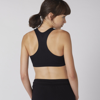 Textured Sports Bra with Scoop Neck and Racerback