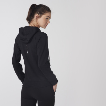 Long Sleeves Sweatshirt with Zip Closure and Hood