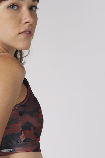 Printed Sports Bra with Scoop Neck and Racerback