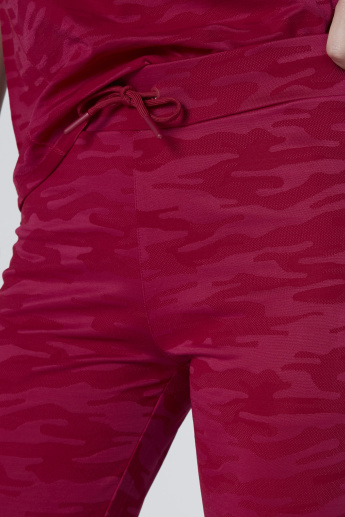 Camouflage Activewear Pants with Pocket Detail and Drawstring