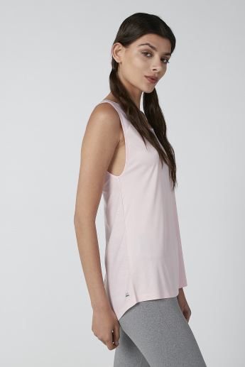 Printed Sleeveless Scoop Neck Top with Back Slit