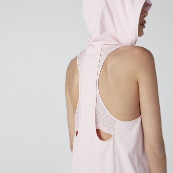 Solid Sleeveless Hoodie with Drawstring