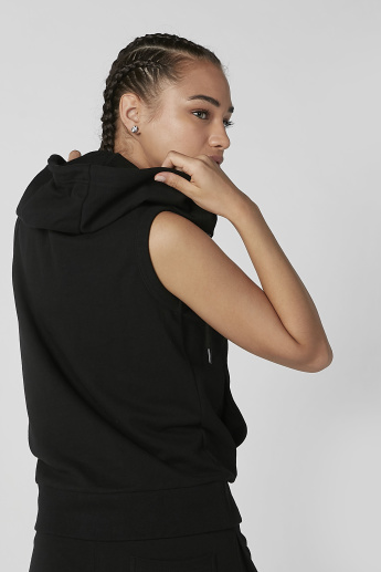 Sustainable Plain Sleeveless Jacket with Hood and Kangaroo Pockets