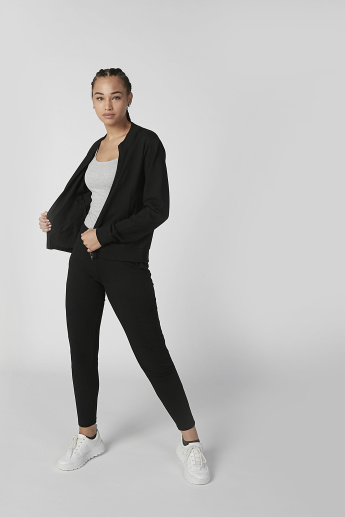 Sustainable Plain Jacket with Long Sleeves and Kangaroo Pockets
