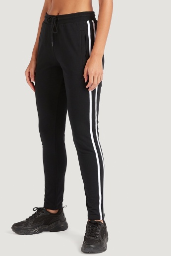 Sustainable Striped Track Pants with Drawstring Closure and Pockets