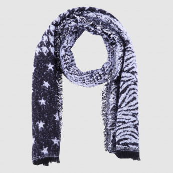 Printed Scarf with Fringes