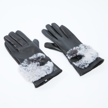 Plush Detail Hand Gloves with Press Button Closure