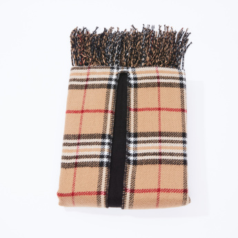 Chequered Poncho Style Scarf with Tassels