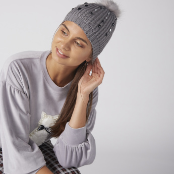 Embellished Beanie Cap with Plush Detail