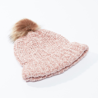 Textured Beanie Cap with Pom-Pom Detail
