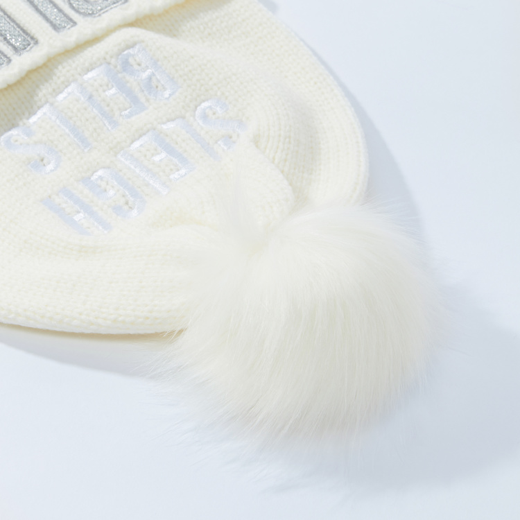 Embroidered Beanie Cap with Pom-Pom Detail