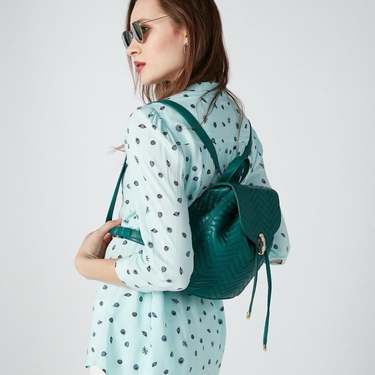 Quilted Backpack with Magnetic Snap Closure