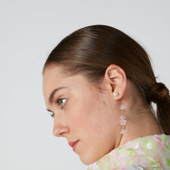 Floral Applique Dangling Earrings with Pushback Closure