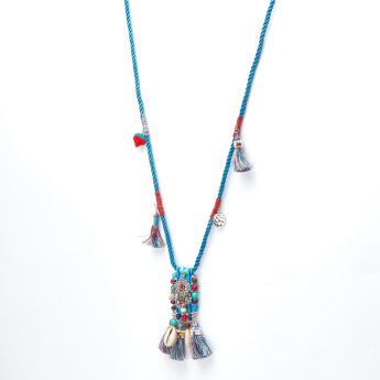 Beaded and Tassel Detail Long Necklace with Lobster Clasp