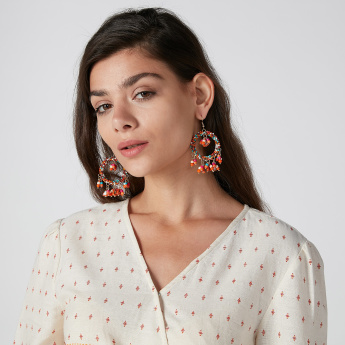 Beaded Dangling Earrings with Fish Hook