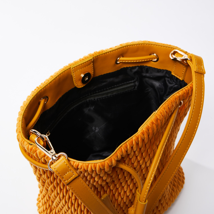 Textured Tote Bag with Detachable Strap