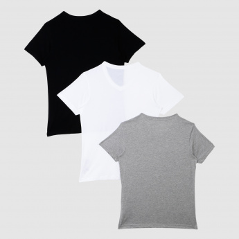 V-Neck T-Shirt with Short Sleeves – Set of 3