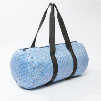 Printed Duffel Bag with Zip Closure and Twin Handles