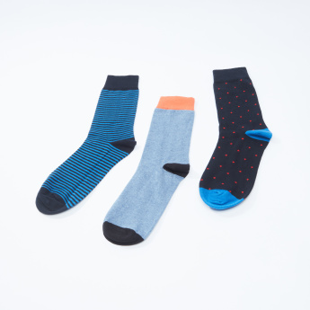Set of 3 - Assorted Crew Length Socks with Cuffed Hem