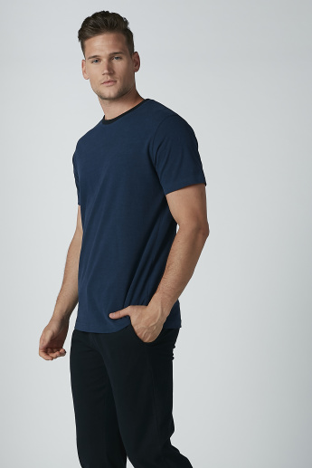Plain Round Neck T-shirt and Pyjama Set