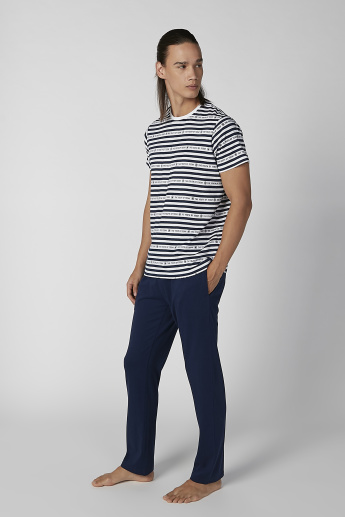 Striped Round Neck T-shirt and Plain Pyjama Set
