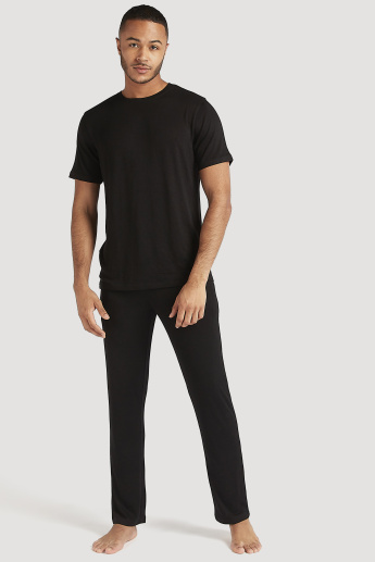 Sustainable Solid Crew Neck T-shirt and Full Length Pyjama Set
