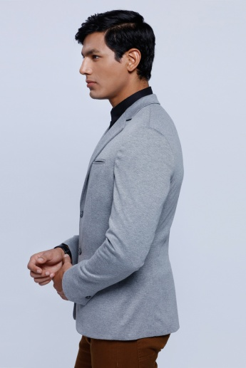 Long Sleeves Jacket with Notch Collar and Patch Pocket