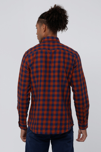 Chequered Shirt with Complete Placket and Long Sleeves