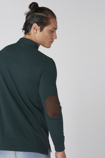 Polo Neck T-Shirt with Long Sleeves and Elbow Patch