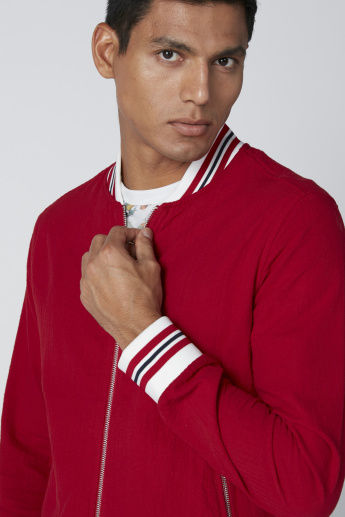 Bomber Jacket with Long Sleeves and Zip Closure