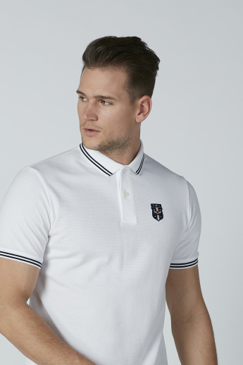 Solid T-Shirt with Polo Neck and Tipping Detail