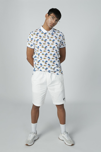 Printed T-shirt with Short Sleeves and Polo Neck