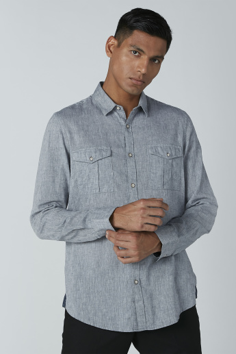 Textured Long Sleeves Shirt with Flap Pockets