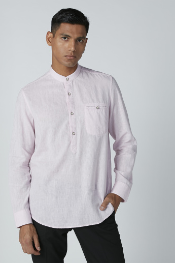 Longline Shirt with Mandarin Collar