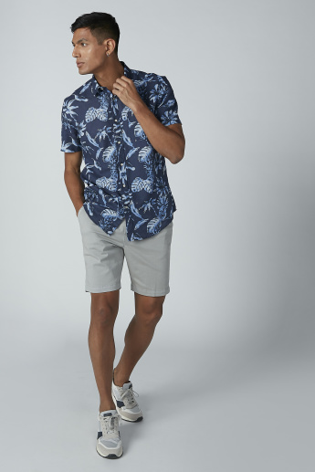 Printed Shirt with Spread Collar and Short Sleeves
