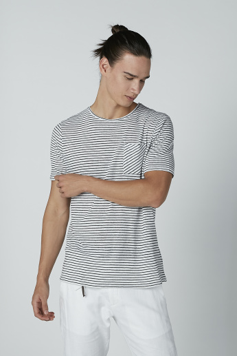 Striped T-shirt with Chest Pocket Detail and Short Sleeves
