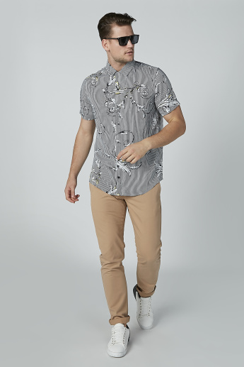Striped and Printed Collared Shirt with Short Sleeves