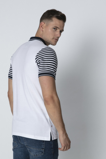 Sustainable Slim Fit Embroidered T-shirt with Polo Neck
