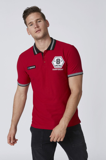 Sustainability Slim Fit Polo T-shirt with Applique Detail