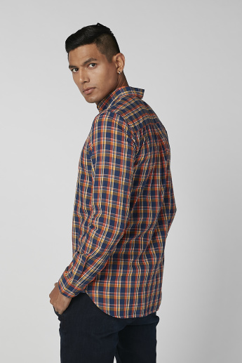 Sustainability Chequered Shirt in Slim-Fit with Long Sleeves