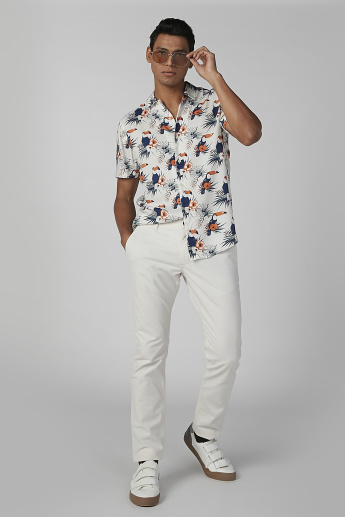 Slim Fit Printed Shirt with Short Sleeves and Complete Placket