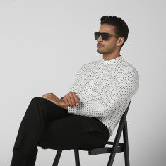 Sustainable Slim Fit Printed Shirt with Mandarin Collar