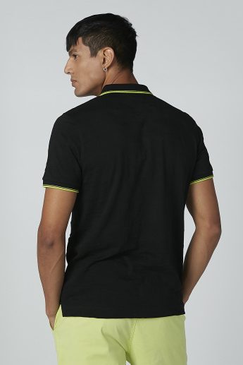 Sustainable Slim Fit Polo Neck T-shirt with Short Sleeves