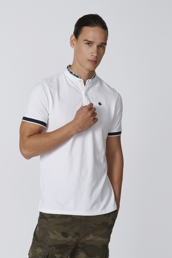 Sustainability Slim Fit Plain T-shirt with Printed Mandarin Collar