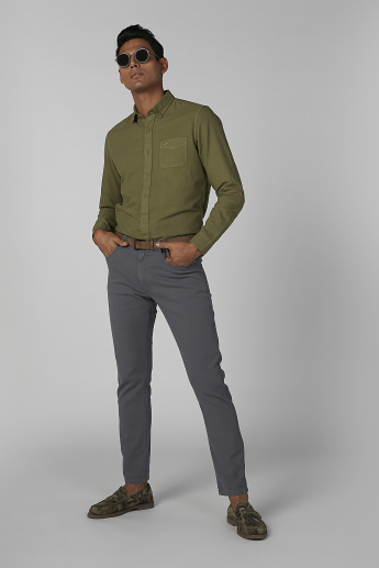 Sustainability Slim Fit Plain Shirt with Long Sleeves and Chest Pocket
