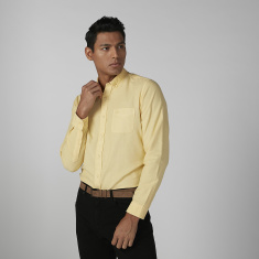 Sustainable Slim Fit Plain Shirt with Long Sleeves and Chest Pocket