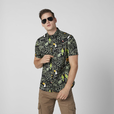 Sustainable Printed Shirt with Short Sleeves in Slim-Fit