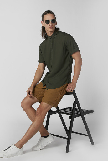 Sustainability Slim Fit Plain Shirt with Short Sleeves