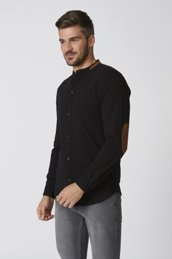 Plain Shirt with Mandarin Collar and Elbow Patch Long Sleeves
