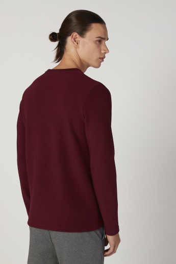 Sustainability Slim Fit Textured Crew Neck Sweatshirt with Long Sleeves